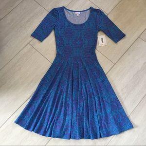 LuLaRoe Nicole Blue and Pink Dress XS